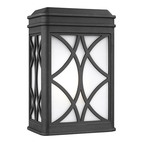 Sea Gull Lighting Melito Black Energy Star Six-Inch One-Light Outdoor Wall Sconce