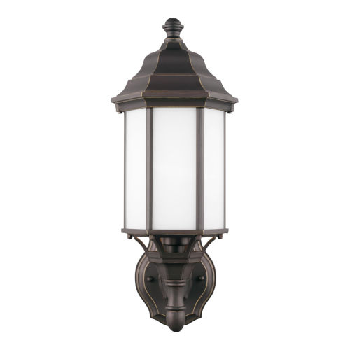 Sevier Antique Bronze Seven-Inch One-Light Outdoor Uplight Wall Sconce with Satin Etched Shade Energy Star