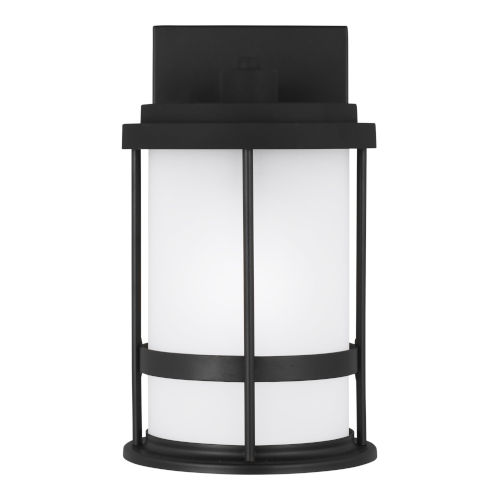 Wilburn Black One-Light Outdoor Small Wall Sconce with Satin Etched Shade