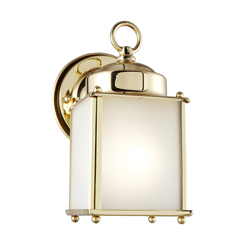 Sea Gull Lighting New Castle Polished Brass Four-Inch One-Light Outdoor Wall Sconce