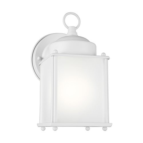Sea Gull Lighting New Castle White Energy Star Four-Inch One-Light Outdoor Wall Sconce