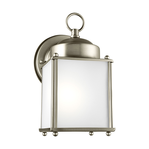 Sea Gull Lighting New Castle Antique Brushed Nickel Energy Star Four-Inch One-Light Outdoor Wall Sconce