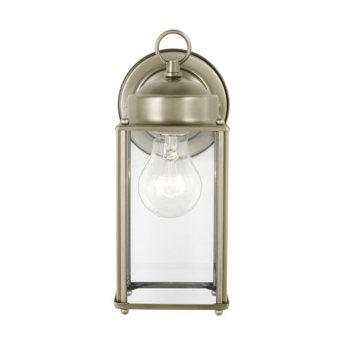 New Castle Antique Brushed Nickel One-Light Outdoor Wall Sconce with Clear Shade