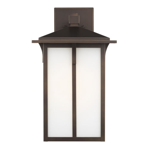 Tomek Antique Bronze 11-Inch One-Light Outdoor Wall Sconce with Etched White Shade Energy Star