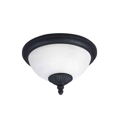 Sea Gull Lighting Yorktown Forged Iron Energy Star Two-Light LED Outdoor Ceiling Flush Mount
