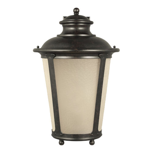 Cape May Burled Iron One-Light Outdoor Wall Sconce with Etched Hammered with Light Amber Shade Energy Star
