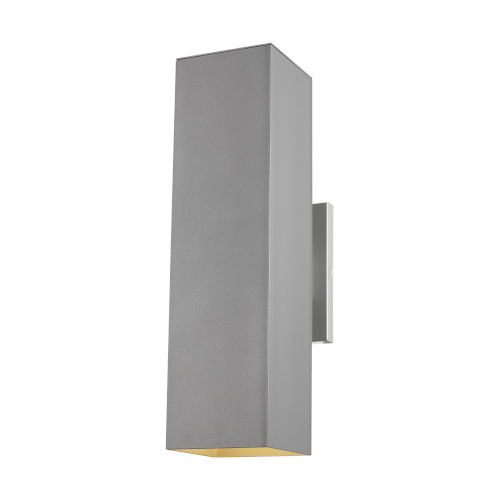 Pohl Painted Brushed Nickel 19-Inch Two-Light Outdoor Wall Sconce with Tempered Glass Shade