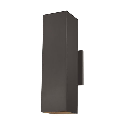 Pohl Bronze Two-Light Outdoor Large Wall Sconce with Tempered Glass Shade