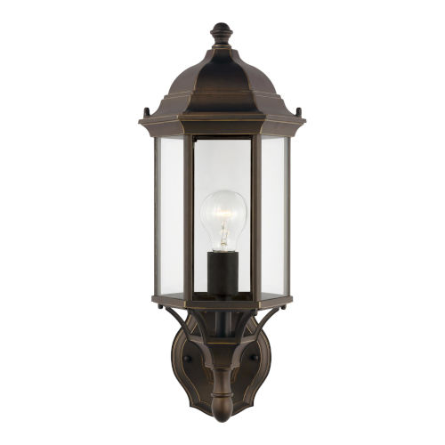 Sevier Antique Bronze One-Light Outdoor Uplight Wall Sconce with Clear Shade