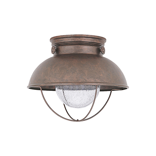 Sea Gull Lighting Sebring Weathered Copper 11-Inch LED Outdoor Flush Mount