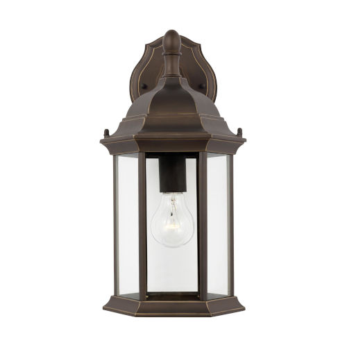 Sevier Antique Bronze One-Light Outdoor Downlight Wall Sconce with Clear Shade