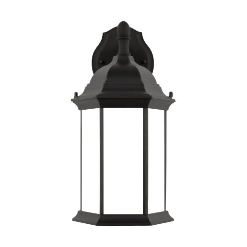 Sevier Black Eight-Inch One-Light Outdoor Downlight Wall Sconce with Satin Etched Shade Energy Star