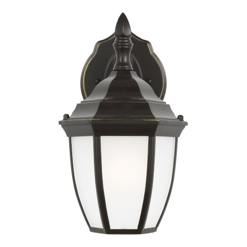 Bakersville Heirloom Bronze One-Light Outdoor Wall Sconce with Satin Etched Shade