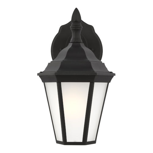Bakersville Black Seven-Inch One-Light Outdoor Wall Sconce with Satin Etched Shade