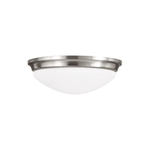 Barrington Brushed Steel Two-Light Flush Mount with White Opal Etched Shade