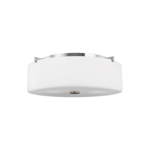 Sunset Drive Chrome Three-Light Flush Mount with White Opal Etched Shade
