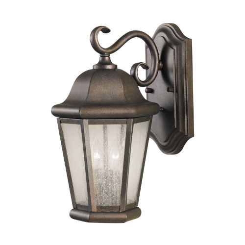Martinsville Corinthian Bronze Two-Light Outdoor Wall Sconce with Clear Seeded Shade