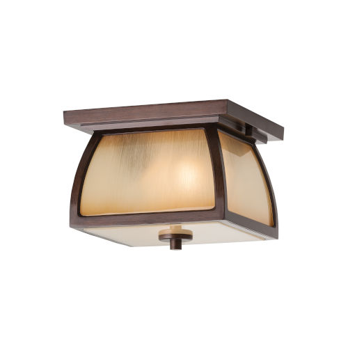 Wright House Sorrel Brown Two-Light Outdoor Flush Mount with Striated Ivory Shade