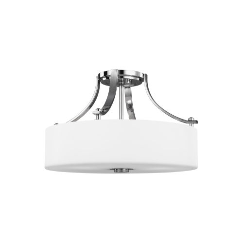 Sunset Drive Chrome Three-Light Semi-Flush Mount with White Opal Etched Shade