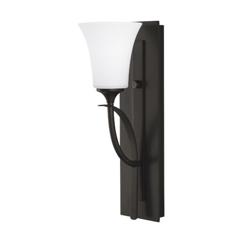 Barrington Oil Rubbed Bronze One-Light Bath Vanity with White Opal Etched Shade