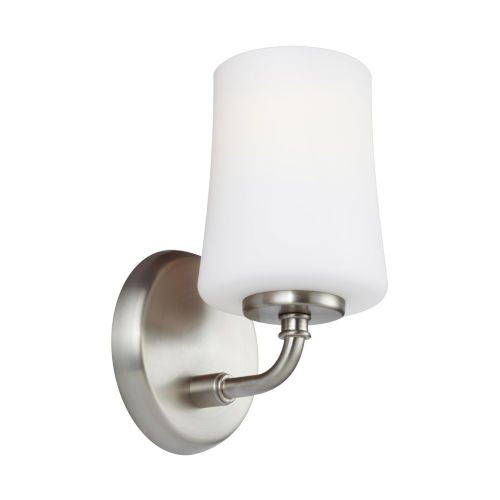 Jennie Satin Nickel One-Light Bath Vanity with White Opal Etched Shade