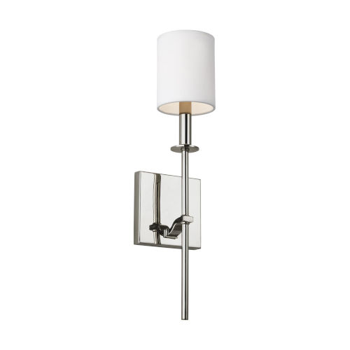 Hewitt Polished Nickel One-Light Bath Vanity with White Parchment Shade