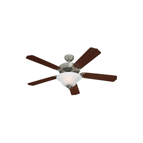 Quality Max Plus Brushed Nickel Two-Light Fluorescent Energy Star Ceiling Fan with Mahogany Blades
