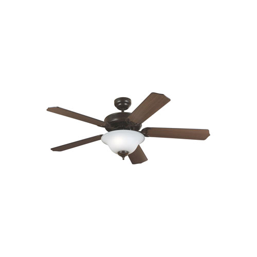 Quality Max Plus Heirloom Bronze Two-Light Fluorescent Energy Star Ceiling Fan with Cerused Oak Blades