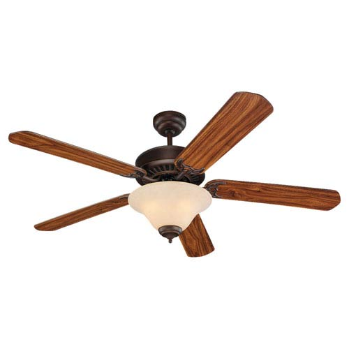 Quality Pro Deluxe Three-Light Roman Bronze 52-Inch Ceiling Fan with Champagne ScavoGlass