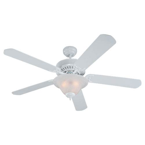 Quality Pro Deluxe Three-Light White 52-Inch Ceiling Fan with White Faux Alabaster Glass