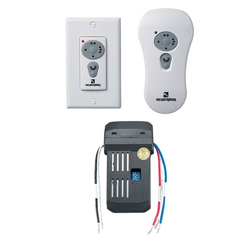 White Ceiling Fan Handheld and Wall Remote Control Kit with Canopy Mounted Receiver