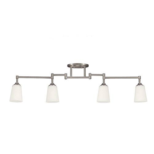 Brushed Nickel Four Light Fixture Track Light Kit with Satin White Glass