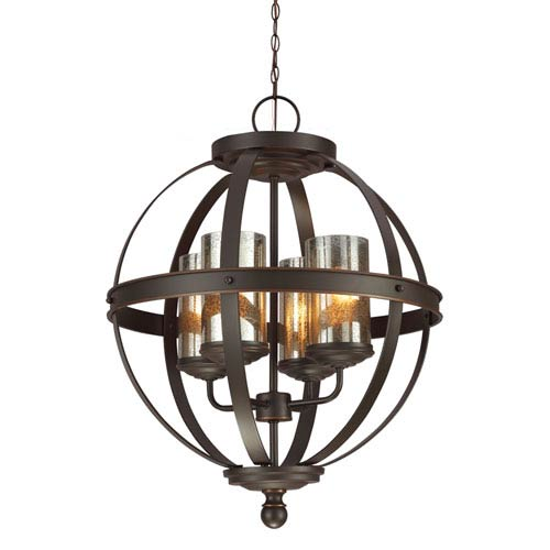 Sfera Autumn Bronze Four Light Single Tier Chandelier with Mercury Glass