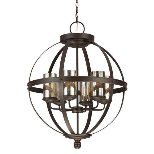Sfera Autumn Bronze Six Light Single Tier Chandelier with Mercury Glass
