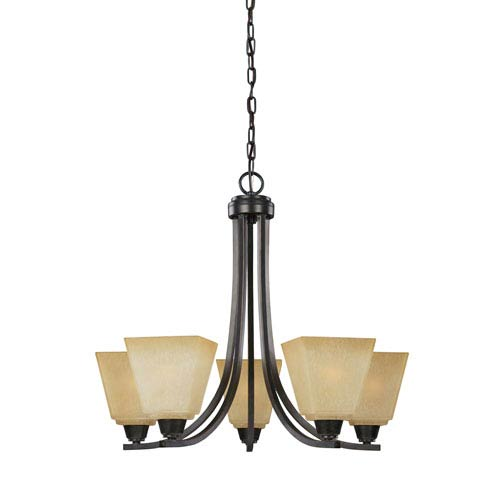 Sea Gull Lighting Parkfield Flemish Bronze Five-Light Chandelier with Creme Parchment Glass