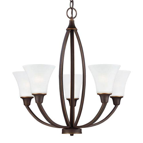 Sea Gull Lighting Metcalf Autumn Bronze Five-Light Chandelier in Autumn Bronze with Satin Etched Glass