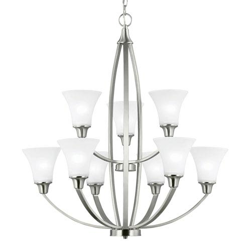 Sea Gull Lighting Metcalf Brushed Nickel Nine-Light  Chandelier with Satin Etched Glass