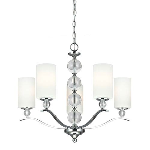 Englehorn Chrome and Optic Crystal 21.75-Inch Five Light Single Tier Chandelier