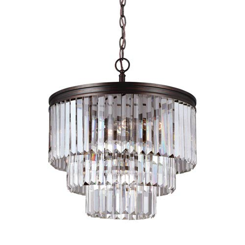 Carondelet Burnt Sienna Four-Light  Chandelier with Prismatic Glass Crystal