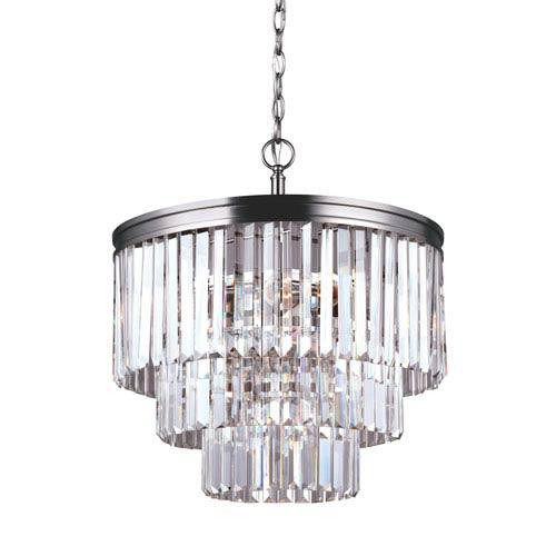 Carondelet Antique Brushed Nickel Four-Light  Chandelier with Prismatic Glass Crystal