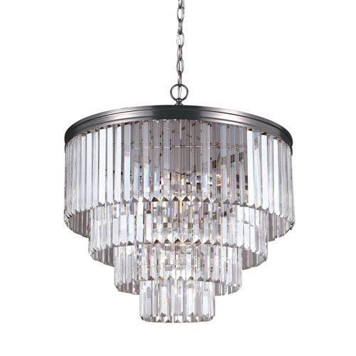 Carondelet Antique Brushed Nickel Six-Light  Chandelier with Prismatic Glass Crystal