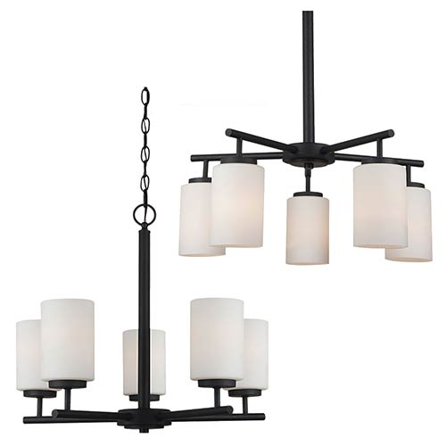Sea Gull Lighting Oslo Blacksmith Five-Light Chandelier with Satin Etched Glass