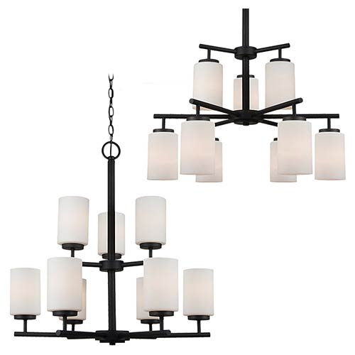 Oslo Blacksmith Nine-Light Chandelier with Satin Etched Glass
