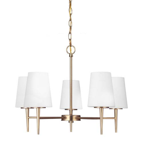 Driscoll Satin Bronze Five Light Single Tier Chandelier with Etched Glass Painted White Inside