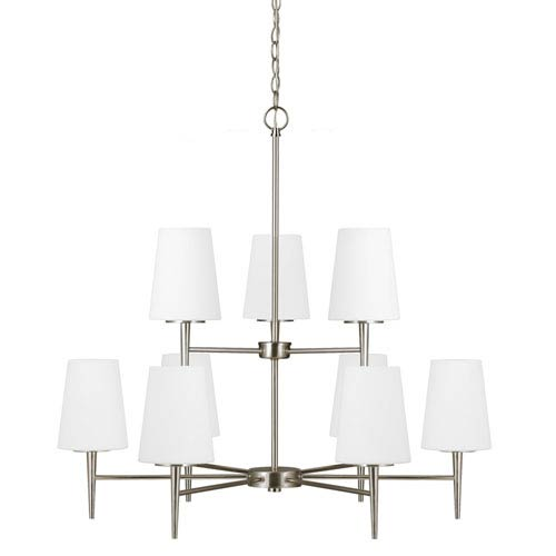 Sea Gull Lighting Driscoll Brushed Nickel Nine Light Multi-Tier Chandelier with Etched Glass Painted White Inside