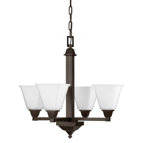 Sea Gull Lighting Denhelm Burnt Sienna Four Light Single Tier Chandelier with Etched Glass Painted White Inside