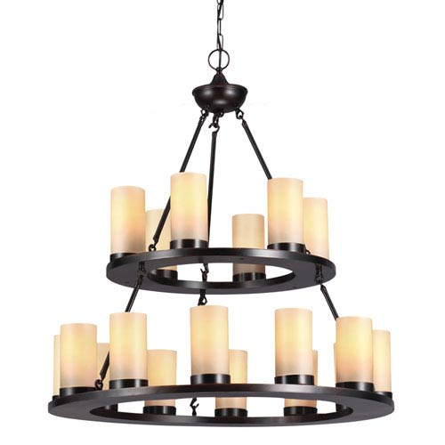 Sea Gull Lighting Ellington Burnt Sienna 18 Light Multi-Tier Chandelier with Cafe Tint Candle Glass