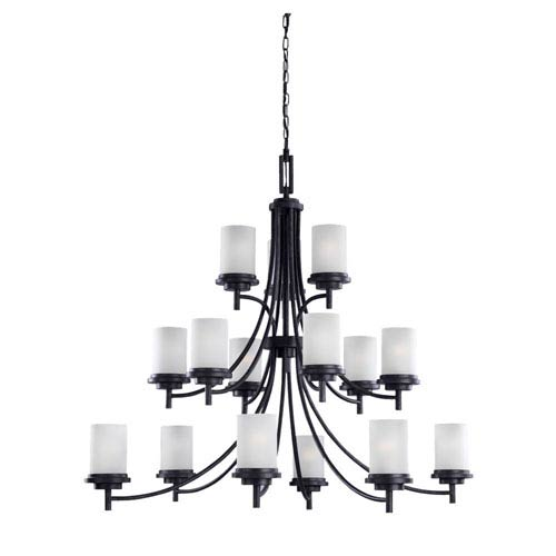 Sea Gull Lighting Winnetka Fifteen-Light Blacksmith Chandelier with Satin Etched Glass