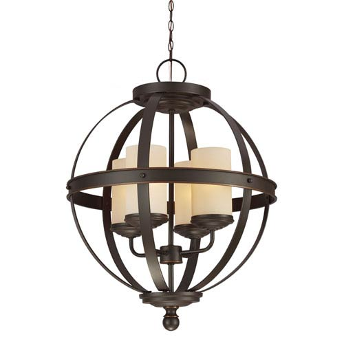 Sea Gull Lighting Sfera Autumn Bronze Four Light Single Tier Chandelier with Cafe Tint Glass