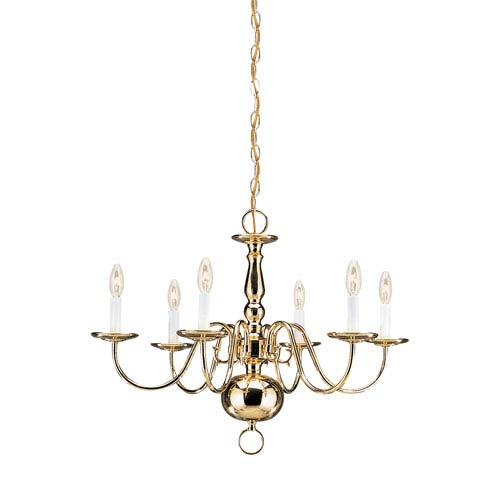 Sea Gull Lighting Traditional Polished Brass 23.5-Inch Energy Star Six-Light Chandelier